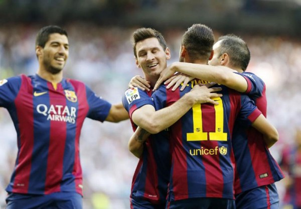Suárez, Messi and Neymar celebrating Barcelona goal in the Clasico