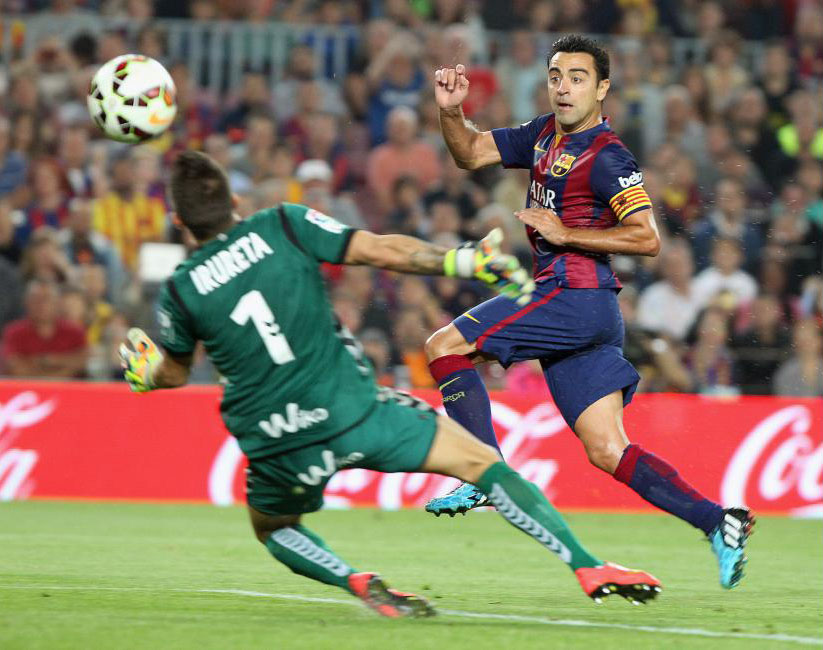 Xavi goal for Barcelona, against Eibar