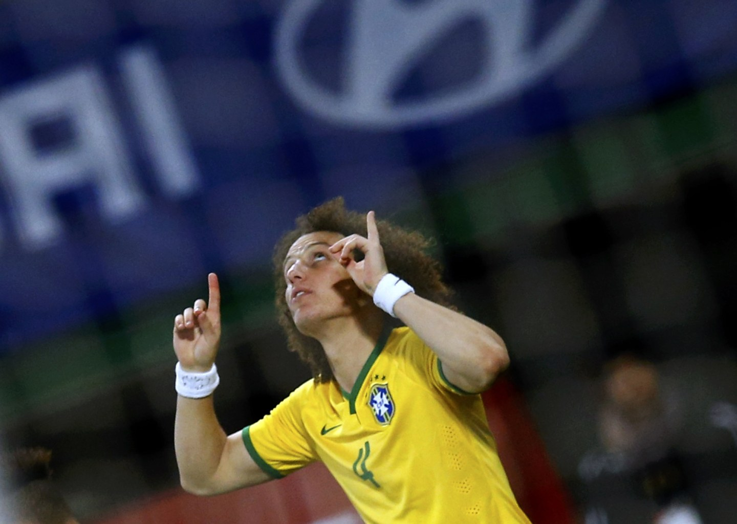 David Luiz celebrating Brazil's first goal against Austria
