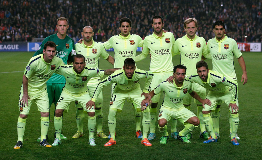 FC Barcelona line-up in the UEFA Champions League fixture in Amsterdam, against Ajax