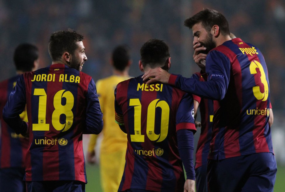 Jordi Alba, Messi and Piqué