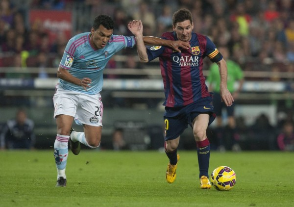 Lionel Messi trying to get some space