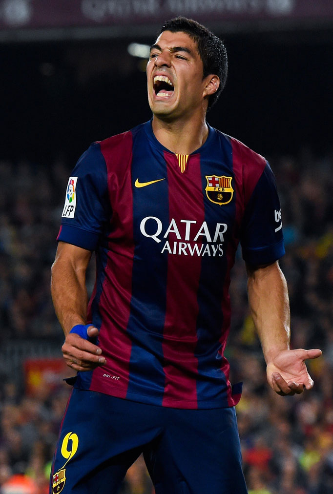 Luis Suárez in his Barcelona debut game at the Camp Nou