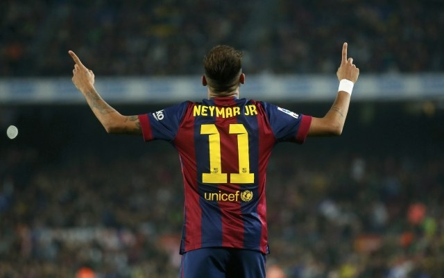 Neymar Jr wearing FC Barcelona jersey number 11