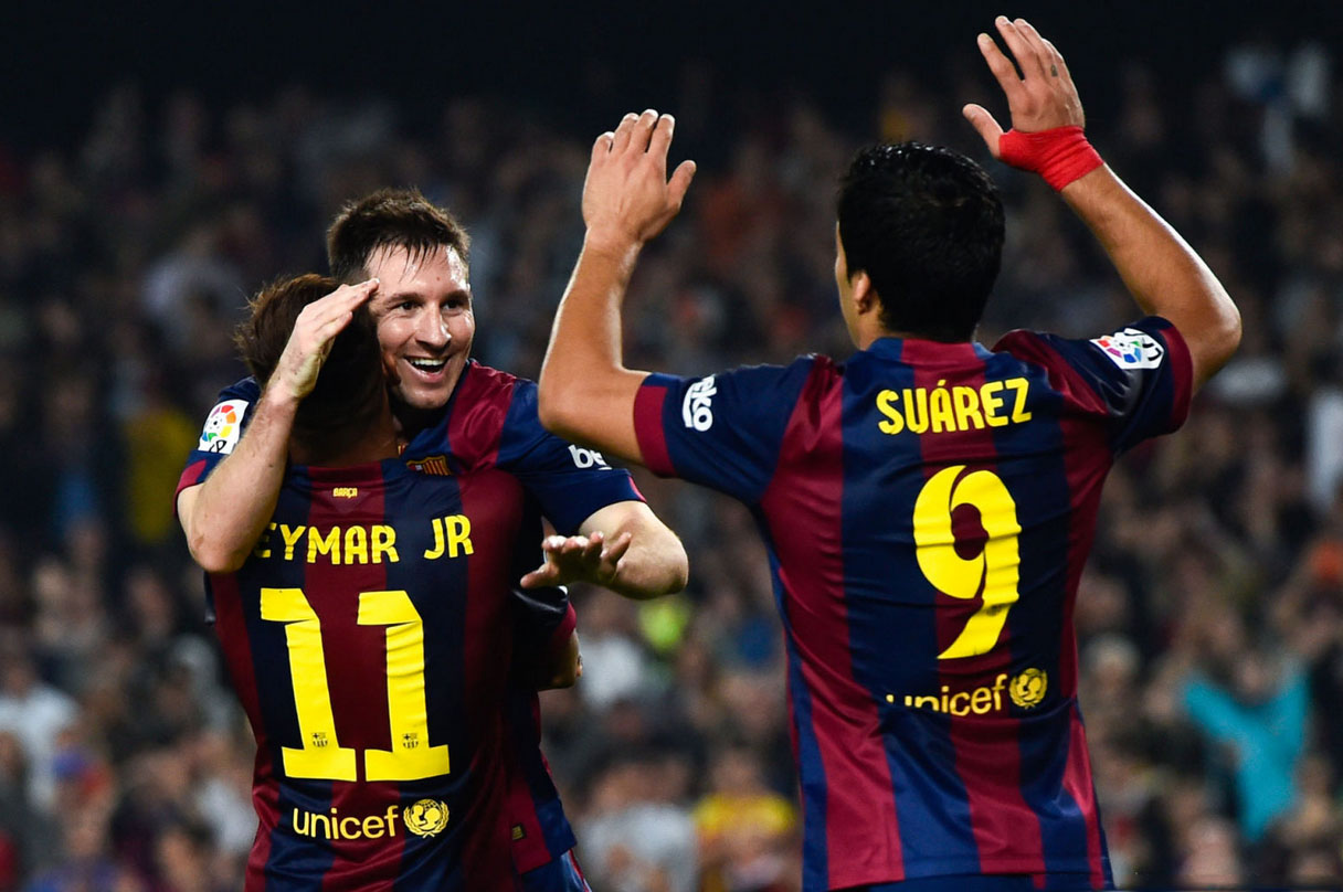 Neymar, Messi and Suárez celebrating a Barcelona goal