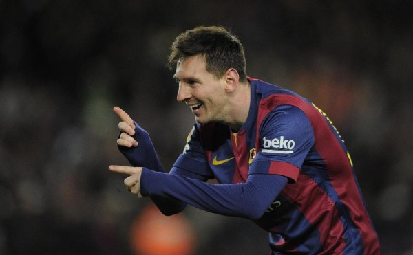 Lionel Messi celebrating his hat-trick with gestures