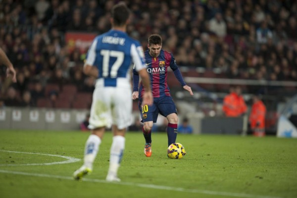 Lionel Messi in action in Barcelona 5-1 Espanyol