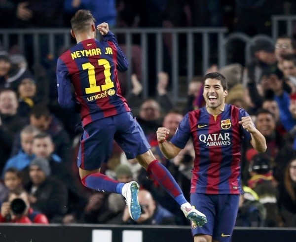 Neymar and Luis Suárez celebrating Barcelona goal at the Camp Nou