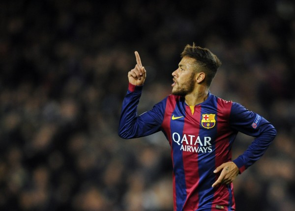 Neymar celebrating his goal in the Champions League