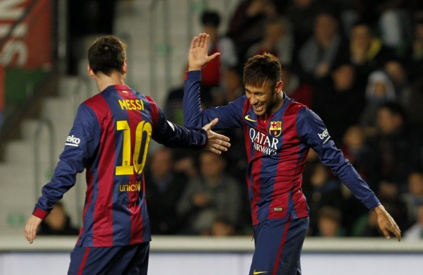 Messi and Neymar great relationship on the pitch