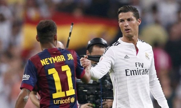 Neymar and Cristiano Ronaldo shaking hands