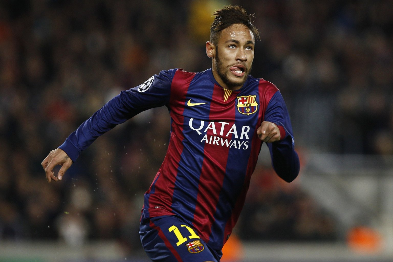 Neymar playing for Barcelona in 2015