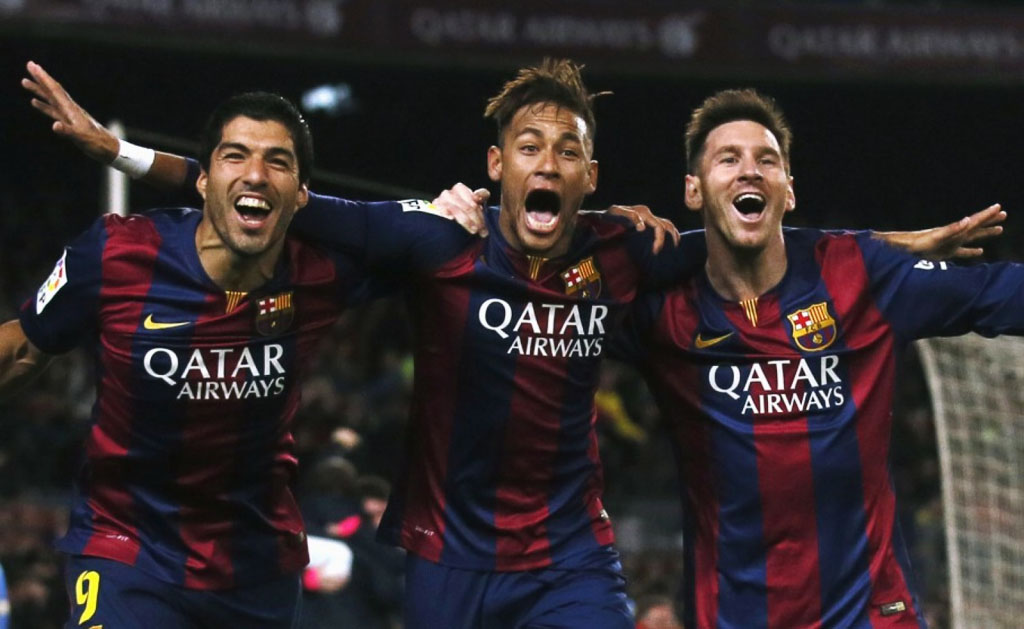 Suarez, Neymar and Messi in FC Barcelona in 2015