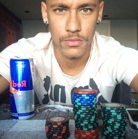 Neymar drinking Red Bull in a poker game