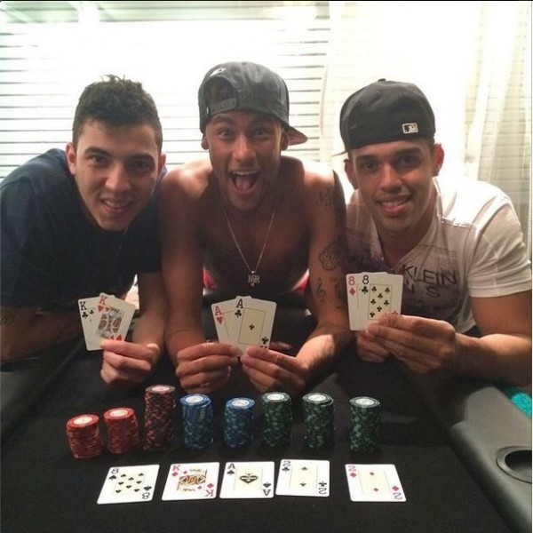 Neymar playing poker with friends