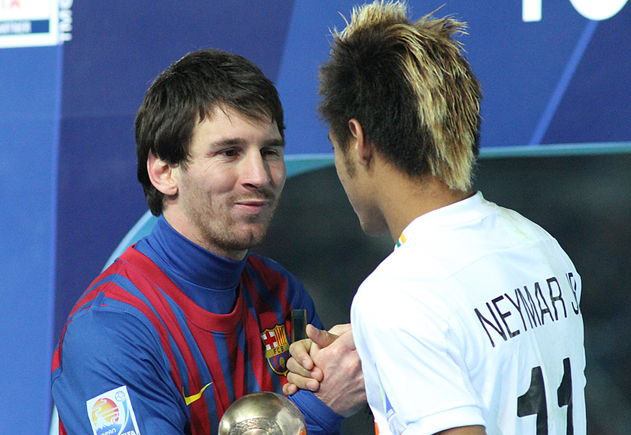 Messi and Neymar meeting each other