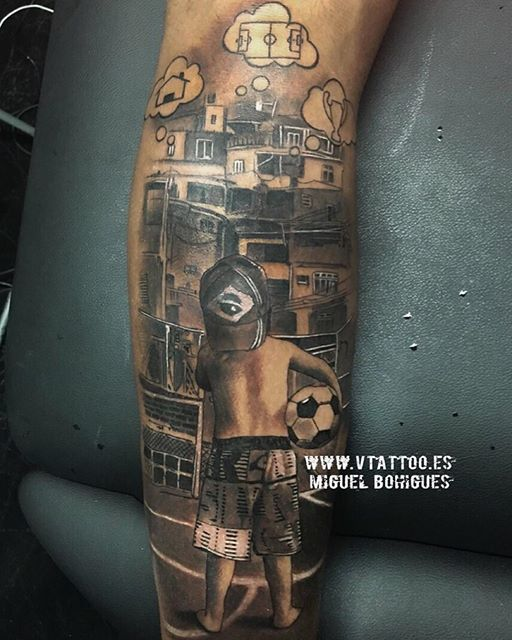 Neymar left leg tattoo, showing his childhood dreams