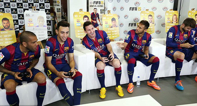 Messi and Neymar playing FIFA on PlayStation