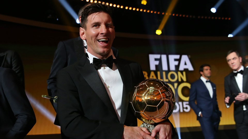 Messi winking after winning his 5th FIFA Ballon d'Or