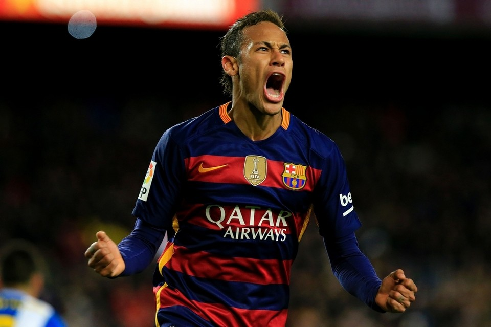 Neymar celebrating a goal for Barcelona in 2016