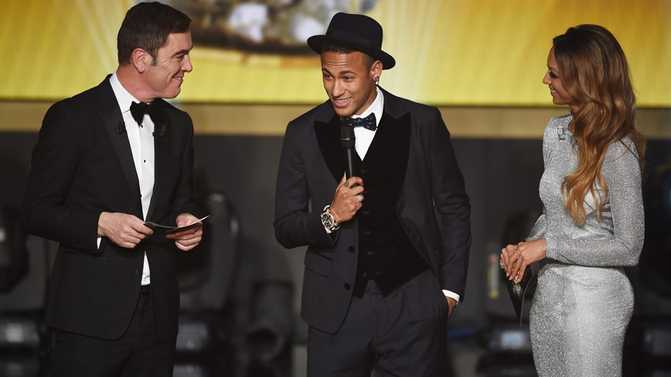 Neymar taking center stage at the 2015 FIFA Ballon d'Or ceremony