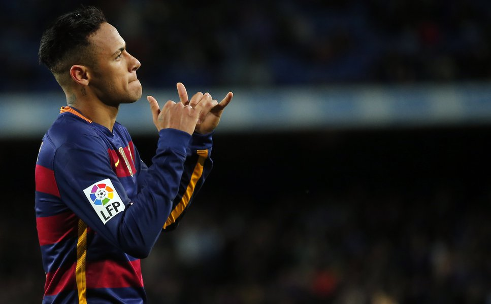 Neymar doing the hang loose symbol with his hands
