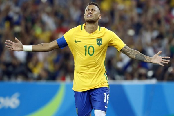 Neymar in 2016 Olympics in Rio, playing for the Brazilian National Team