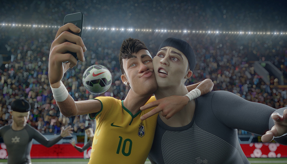 Neymar's likeness was featured in Nike's signature longform spots ahead of the 2014 World Cup
