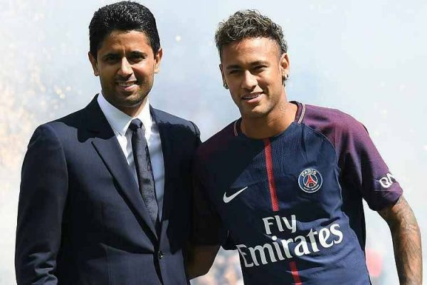 Nasser Al-Khelaifi and Neymar Jr in PSG