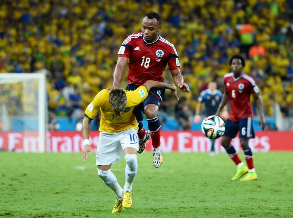 Neymar injured in Colombia vs Brazil
