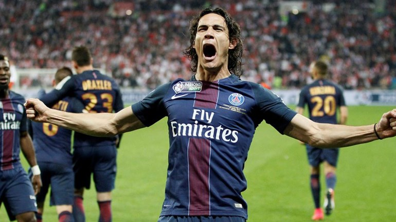 Cavani celebrating a goal for Paris-Saint Germain