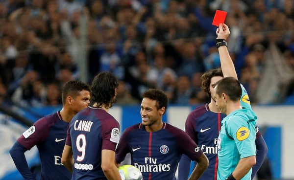 Neymar sent off in PSG with a red card