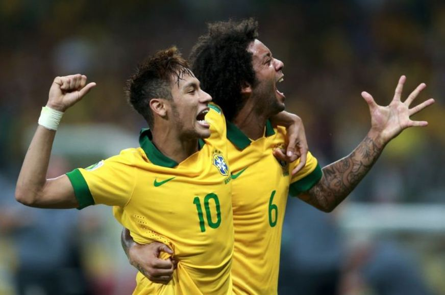Neymar and Marcelo in Brazil