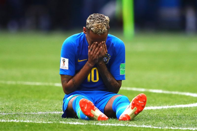 Neymar breaks in tears after a World Cup game in 2018