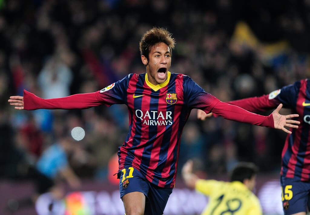 Neymar celebrates scoring a goal for FC Barcelona