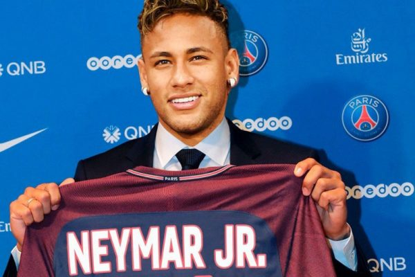 Neymar after signing for PSG